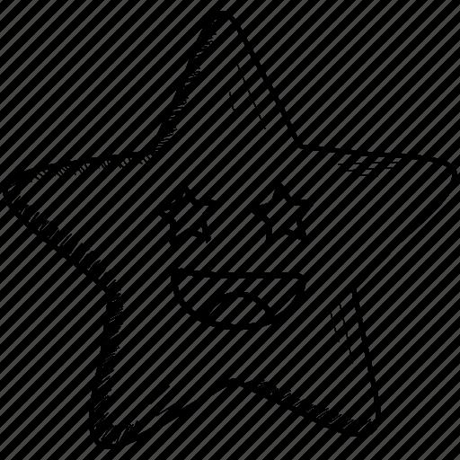 emoji, emoticon, joyful, laughing, smiling, star icon