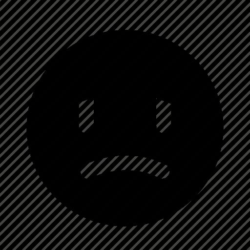 blue, down, emoji, sad, upset icon