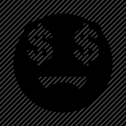 dollar, emoji, eyes, greed, money icon