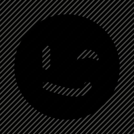 emoji, happy, smile, smirk, wink icon