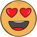 emoji, feeling, happy, in, love, loved, smiley, valentine icon