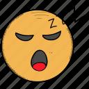 emoticon, face, mouth, open, sleeping, snoring, zzz icon