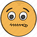emoticons, lips, mouth, sealed, smiley, zipped icon