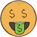 coin, dollar, emoticon, naughty, smiley, teasing, winking icon