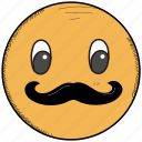 character, emoji, emoticon, hipster, mustache, smiley icon