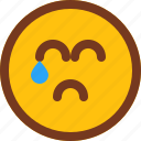 crying, emoji, emotion, face, sad icon