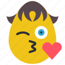 boy, emojis, fancy, flirt, heart, kiss icon