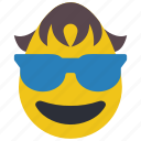 boy, cool, emojis, glasses, shades, sun glasses icon