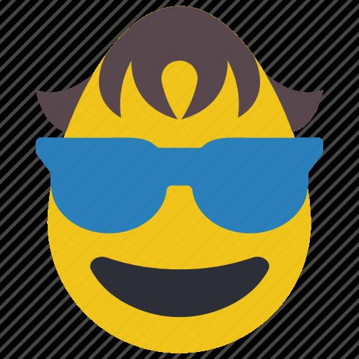 boy, cool, emojis, glasses, shades, sun glasses icon