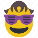 boy, cool, dude, emojis, first, glasses, sun glasses icon