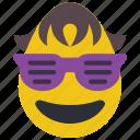 boy, cool, dude, emojis, first, glasses, sun glasses icon