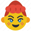 emojis, emotion, first, girl, happy, shy icon