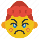 angry, cross, emojis, girl, grumpy, smiley icon