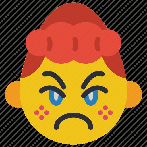angry, cross, emojis, girl, grumpy, smiley icon