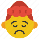 down, emojis, emotion, girl, sad, upset icon