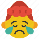 cry, emojis, girl, poorly, sad, upset icon