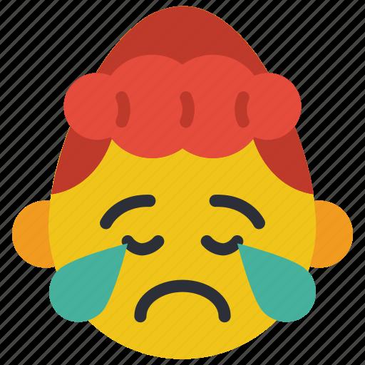 cry, emojis, girl, poorly, sad, upset icon