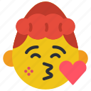 emojis, flirt, girl, heart, kiss, love icon