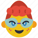 emojis, emotion, first, girl, glasses, hair, posh icon