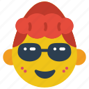 cool, emojis, girl, glasses, shades, sun glasses icon