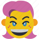 emojis, girl, happy, joy, smile, smiley icon