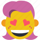 emojis, fancy, flirt, girl, hearts, love icon