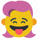 cheecky, emojis, girl, happy, laugh, tongue icon