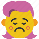 down, emojis, girl, poorly, sad, upset icon