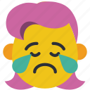 cry, crying, emojis, girl, sad, upset icon
