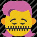 emojis, girl, shut, silent, smiley, zipped, zippit icon