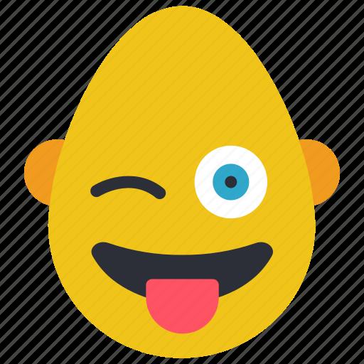 bold, emojis, happy, laugh, man, tongue icon