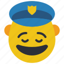 cop, emojis, first, happy, man, police, smiley icon