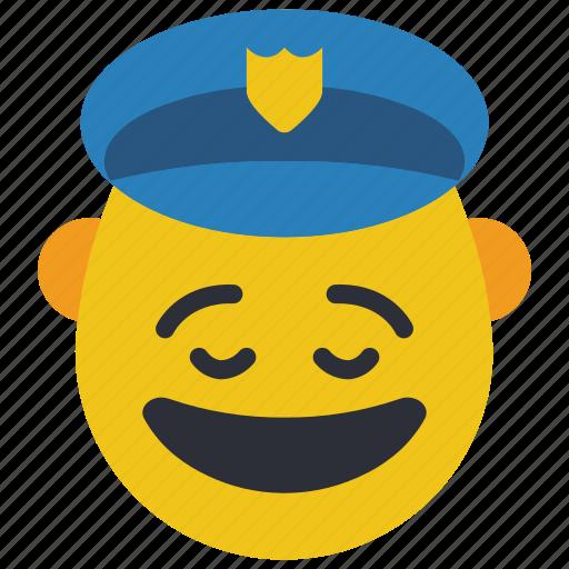 cop, emojis, first, happy, man, police, smiley icon