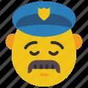 cop, emojis, first, man, moustache, police, sad icon