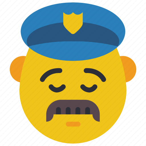 cop, emojis, first, man, moustache, police, sad icon