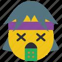emojis, first, hurl, rock, sick, smiley, throw icon