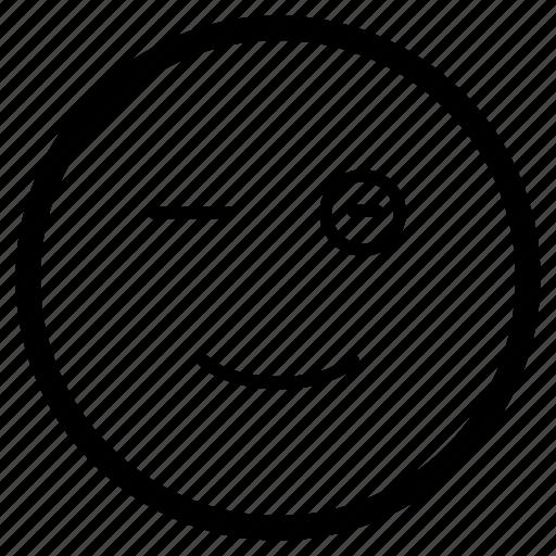 blink, emoji, emoticon, naughty, smiley, wink, winking icon