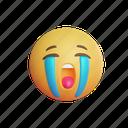cry, emoji, sad, face, emoticon, emotion, smiley, smile, 3d, cute
