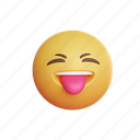 tease, 3d, tongue, show tongue, face, smile, emoji, emoticon, emotion, cute, happy