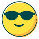 avatar, emoji, emoticon, face, glass, sun icon
