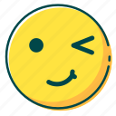 avatar, emoji, emoticon, face, wink icon