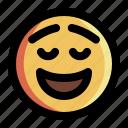 emoji, emoticon, expression, face, happy, relief, smiley