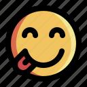 delicious, emoji, emoticon, expression, happy, smile, sticker