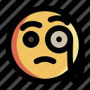 detective, emoji, emoticon, expression, face, smiley, suspicious