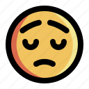 emoji, emoticon, expression, face, feeling, sad, smiley