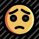 emoji, emoticon, expression, face, sad, smiley, sticker