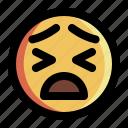 emoji, emoticon, expression, face, feeling, smiley, tired