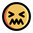 emoji, emoticon, expression, face, shiver, shivering, smiley