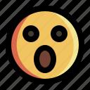 emoji, emoticon, expression, face, shocked, smiley, surprised