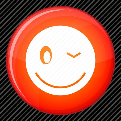 emoticon, expression, face, facial, joy, smile, wink icon